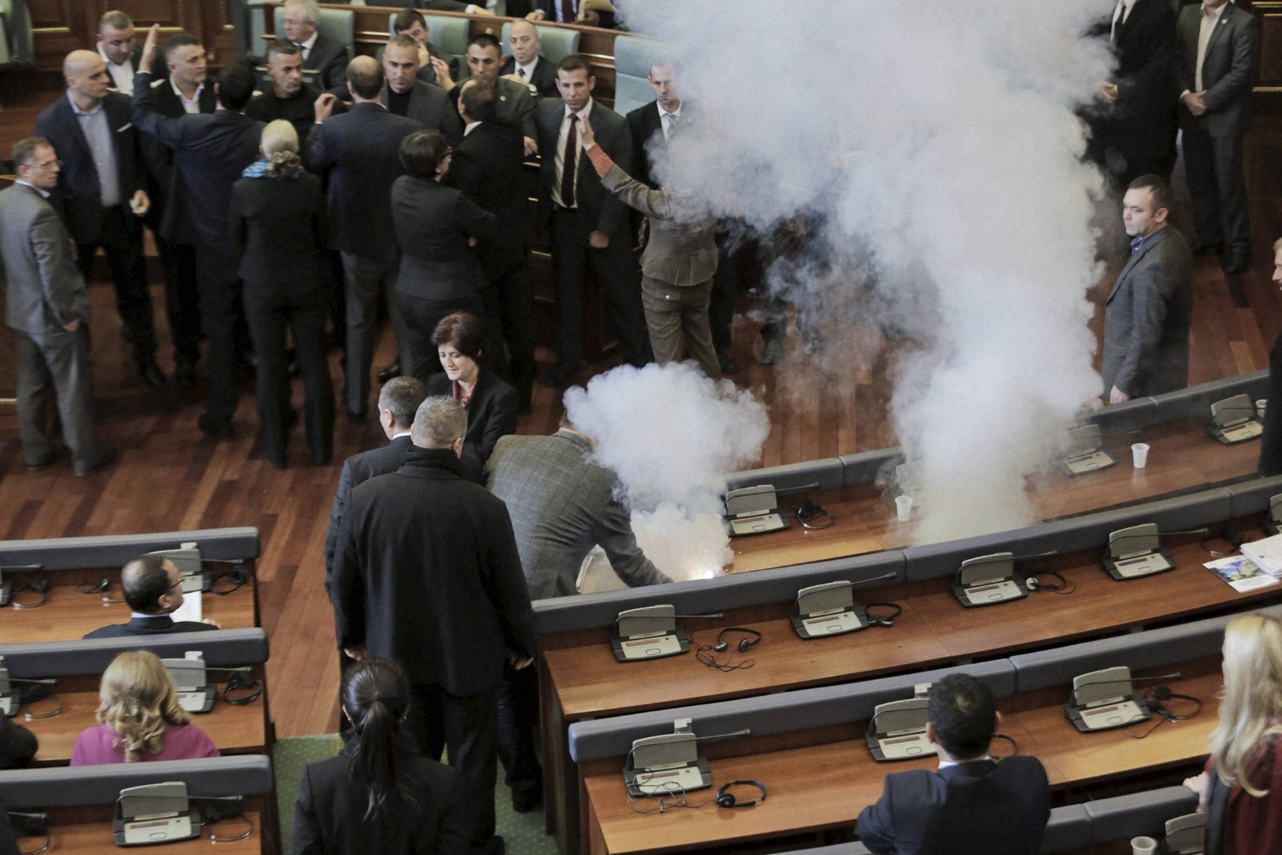 Oppn disrupts Kosovo Parlt with tear gas