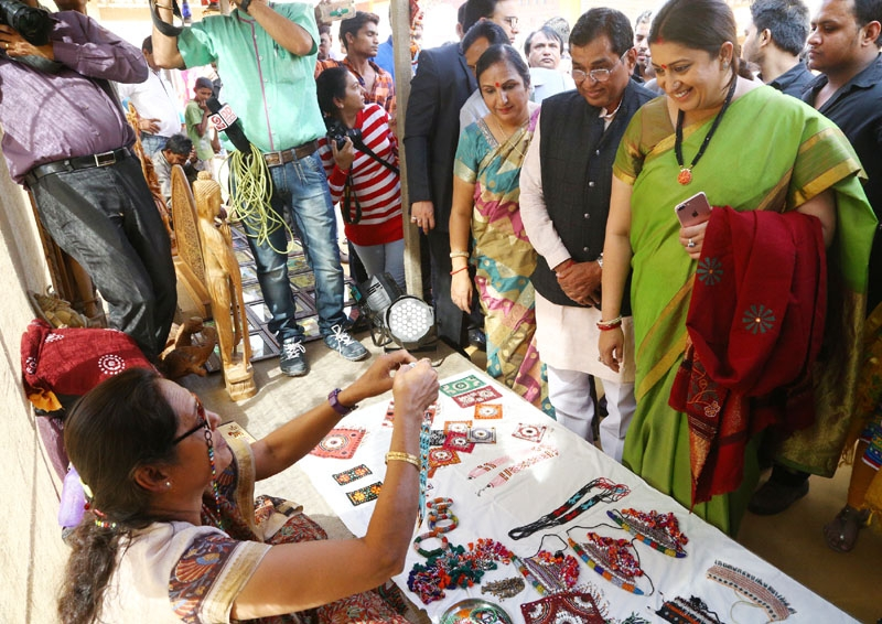 Union  Smriti Irani visiting  Thematic Exhibition
