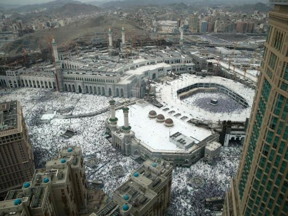 Muslim pilgrims from all around the world circling around the Kaaba at the Grand Mosque in the Saudi city of Mecca