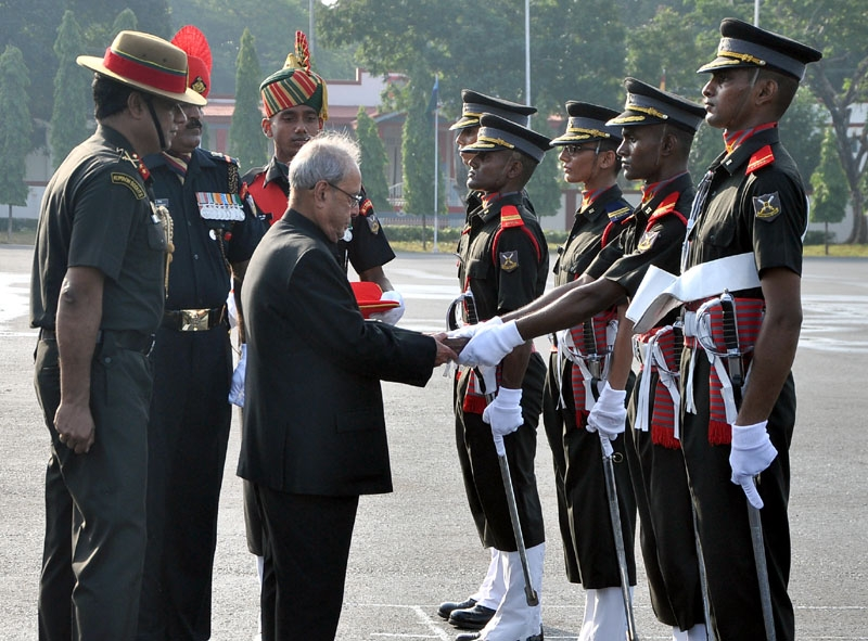 The President  Pranab Mukherjee presented the awards for the best performance in various fields to the cadets of Officers Training Academy Chennai