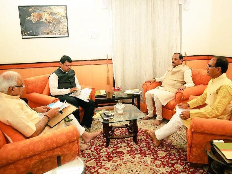 Mp CM Chouhan And Mah CM Fadnavis And Jharkhand CM Das discusses Garib Kalyan agenda
