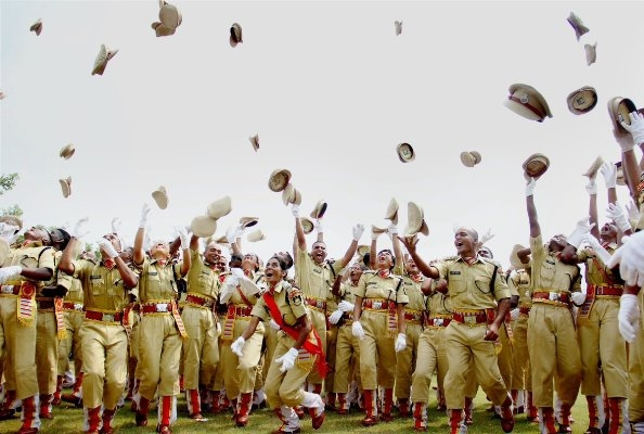 Cadets jubilate after their passing out parade at CRPF Academy Kadarpur in Gurgaon