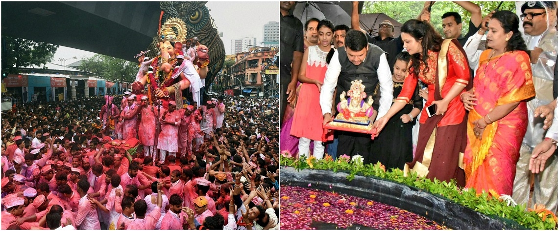 Devotees carry Lalbaugcha Raja Ganesh idol to Girgaon Chawpatty For Immersion while CM Devendra Fadnavis immerses Ganesh idol at an artificial pond in Mumbai His wife Amruta is also seen
