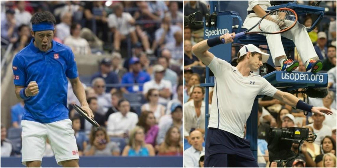 Kei Nishikori of Japan reacts after winning a point against Andy Murray while Andy Murray smashes his racket during US Open