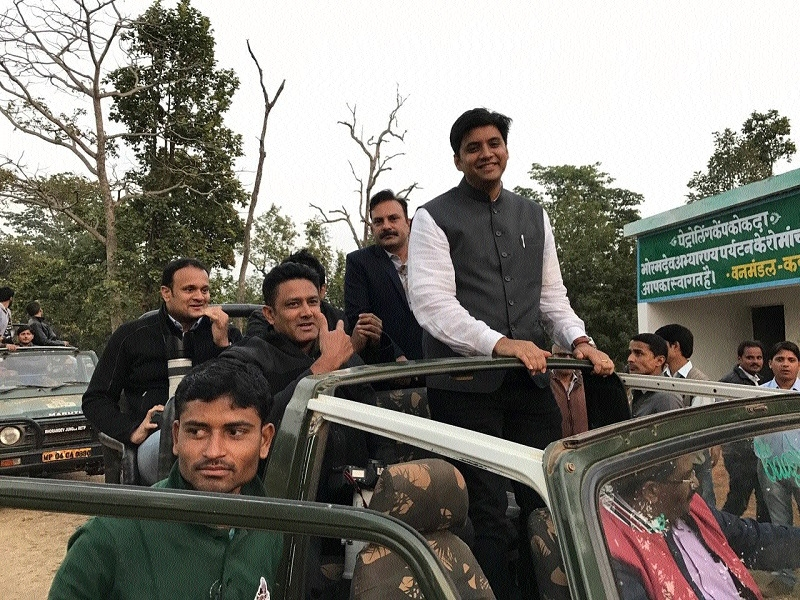 Anil Kumble visits Bhoramdev Wildlife Sanctuary at Kawardha