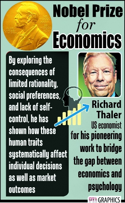 US economist Thaler wins Nobel for 'human angle' to financial decisions