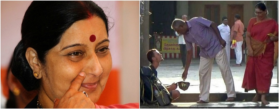 Sushma helps Russian tourist begging for alms at TN temple