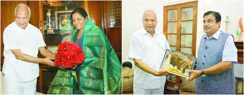 Purohit calls on Gadkari, Sitharaman