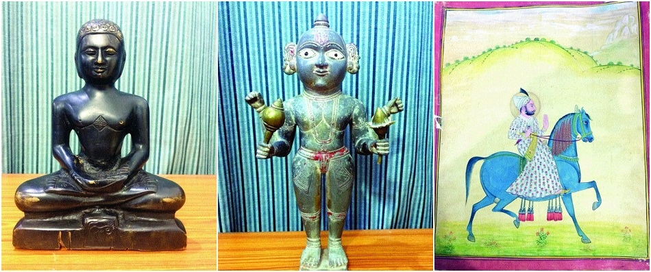 Two held with antique idols, painting