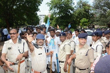 Demanding direct students' union polls NSUI stages protest