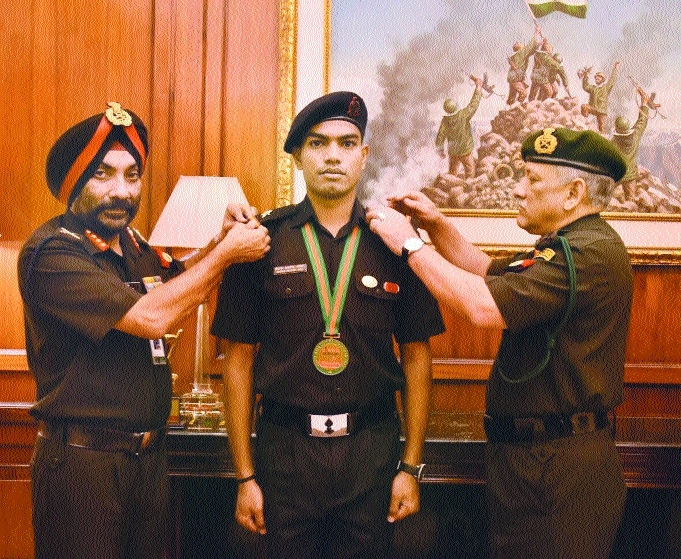 Chikte rewarded by Indian Army