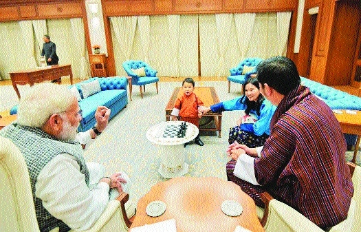Bhutanese King Jigme Khesar Namgyel Wangchuck and Queen Jetsun Pema PM Narendra Modi