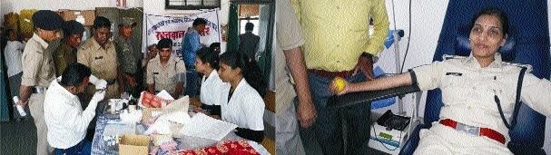 Cops donate blood on Ekta Diwas