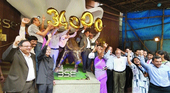 Sensex pierces 34,000, Nifty 10,500-mark for first time