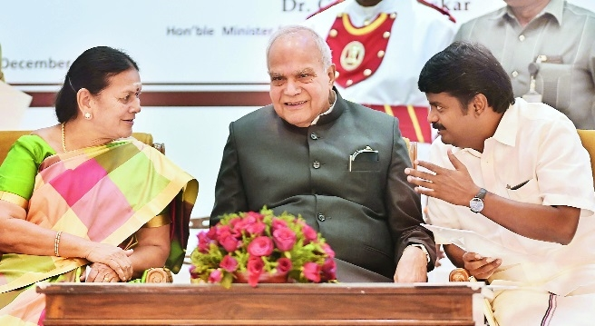 T N Governor Banwarilal Purohit with State Ministers Vijaya Baskar and V Saroja at the Beti Bachao Beti Padhao event of I  B Ministry at Raj Bhavan in Chennai