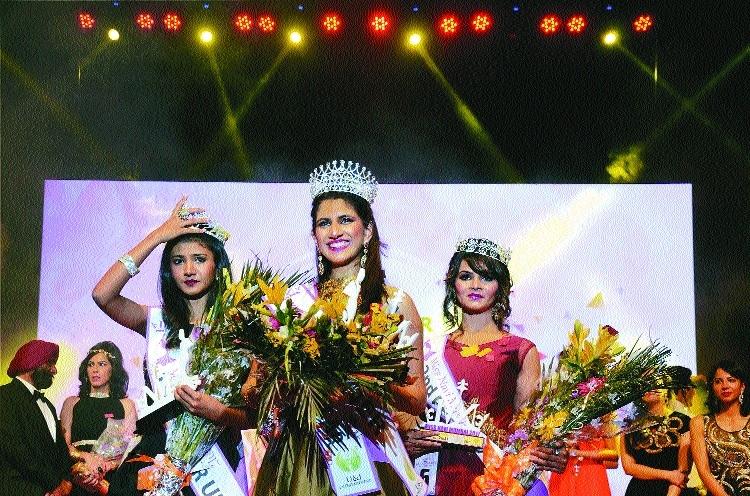 Miss Navi Mumbai Pageant 2017  1st Runner Up Prachi Bhagadia Winner Miss Navi Mumbai Simran Malhotra and 2nd Runner Up Komal Chandel at CIDCO Exhibition Centre at Vashi in Mumbai