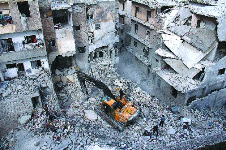 Syrian civil defence volunteers White Helmets look for survivors  reported