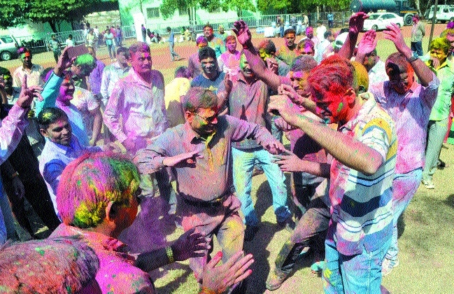 Cops celebrate Holi on Tuesday with fervour