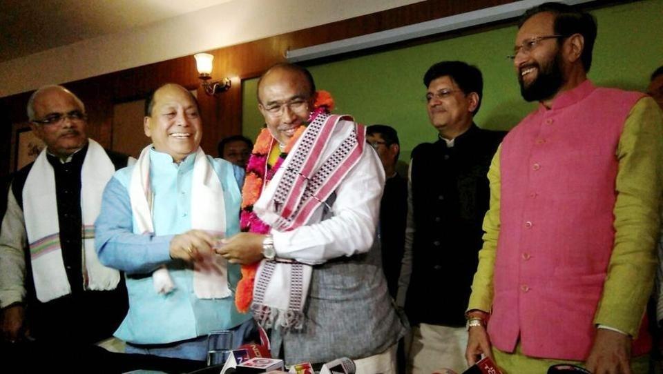 N Biren Singh sworn-in as first BJP CM of Manipur