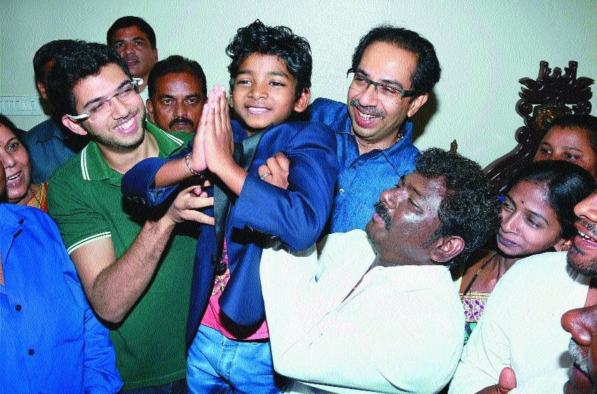 Eight year old Lion actor Sunny Pawar Shiv Sena President Uddhav Thackeray Aditya Thackeray