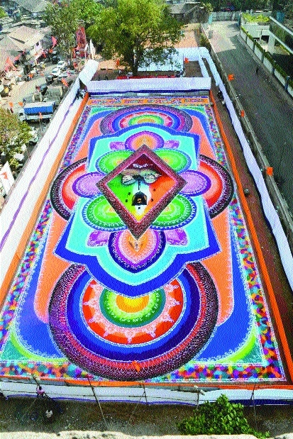 A view of 15000 sq ft rangoli created by 28 artists