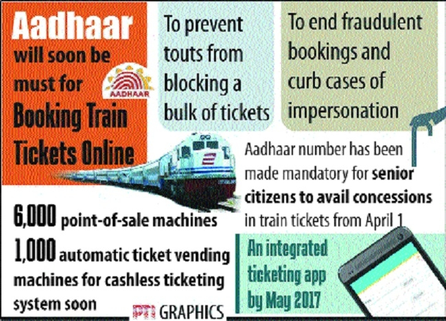 Aadhaar to be must for online train tickets booking soon