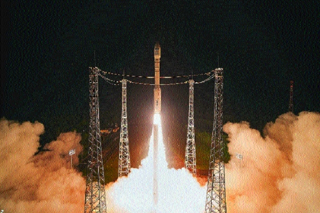 Sentinel 2B satellite lifting off from Europes Spaceport in Kourou