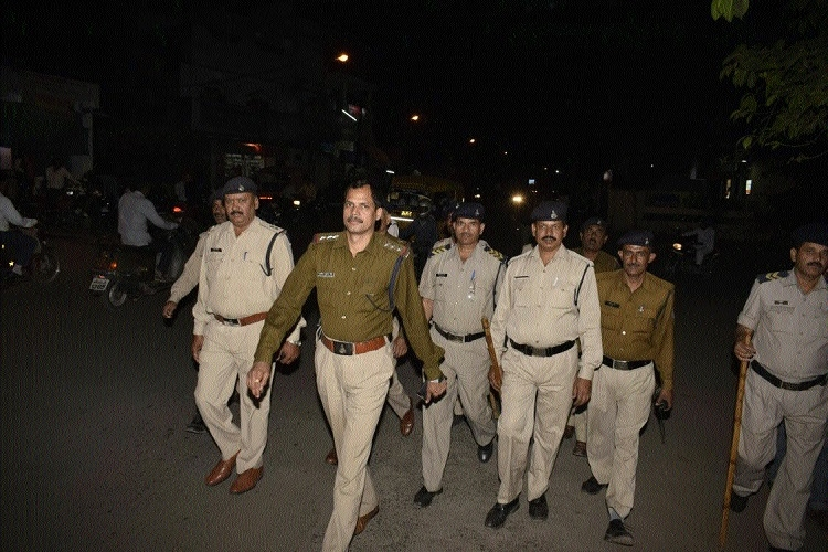 Omti police hold flag march at sensitive areas prior to Holi