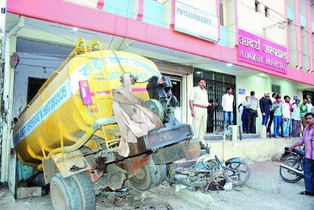 Two killed as water tanker rams into hospital premises due to brake failure