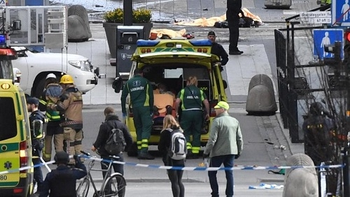 Three killed as truck crashes into central Stockholm store