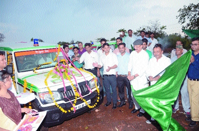 Health Minister Rustam Singh flags off 70 new ambulances