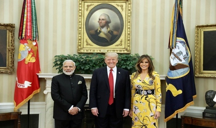 Modi at White House for maiden meeting with Trump