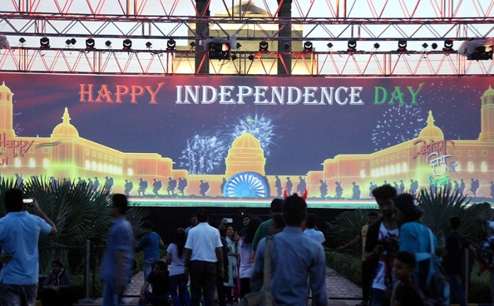 People watching the multimedia show to mark the 71st year of Independence Day at India Gate