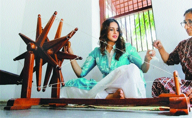 Huma Qureshi spins charkha Gandhi Ashram promote her film Partition 1947.jpg