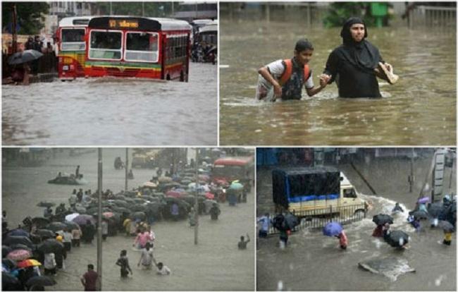 Heavy downpour brings Mumbai to its knees
