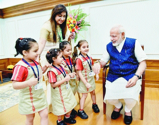children rakhis PM Modi on Raksha Bandhan.jpg
