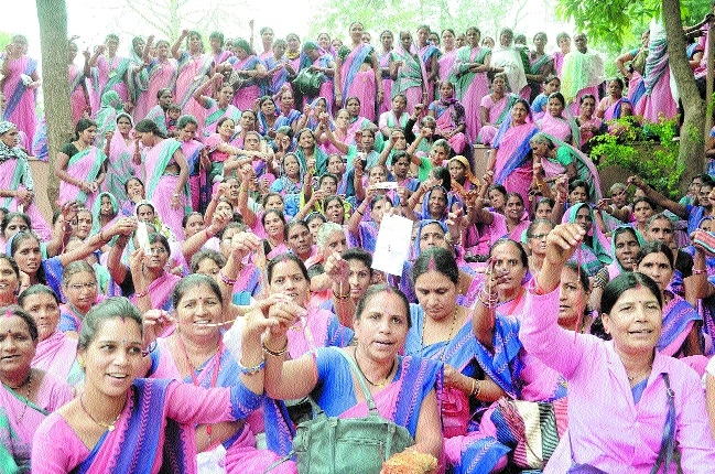 Anganwadi workers protest for demands