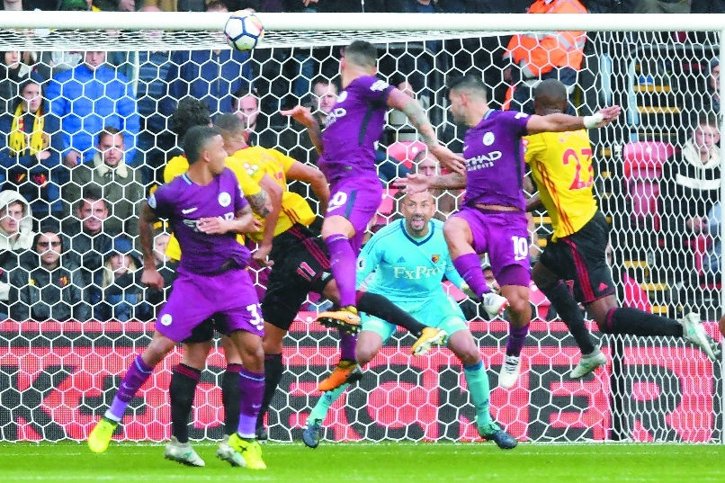 Aguero gets hat-trick as City go top with 6-0 win over Watford