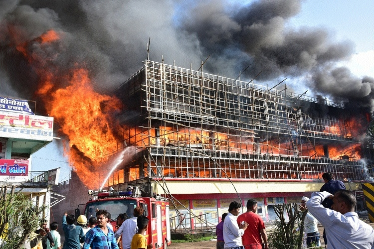 Goods worth lakhs gutted in fire at furniture showroom