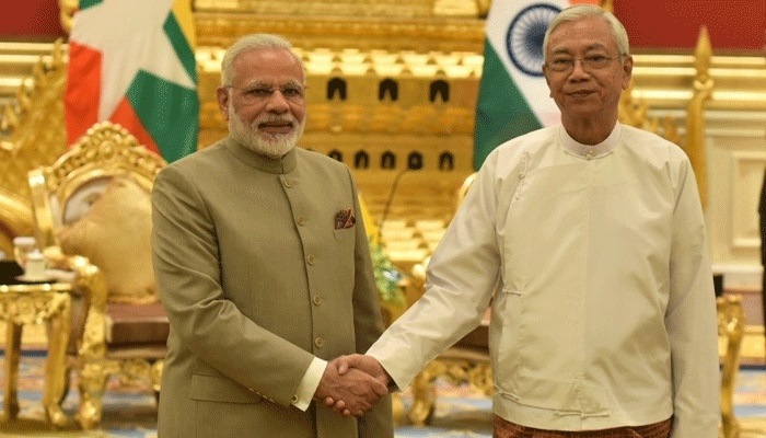 President Kyaw welcomes Modiin Myanmar