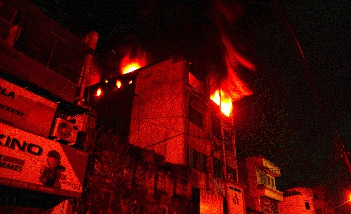 Motorbike accessories worth lakhs gutted after fire breaks out in godown