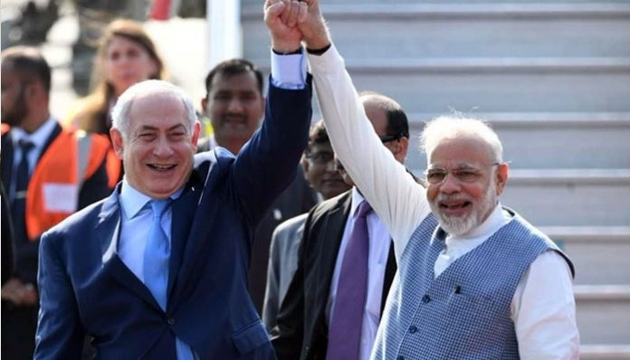 PM Narendra Modi receives his Israeli counterpart Benjamin Netanyahu  at Air Force station Palam in New Delhi