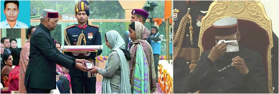 President's eyes well up after presenting Ashok Chakra