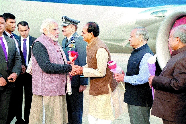 PM Modi accorded rousing welcome at Gwalior airport