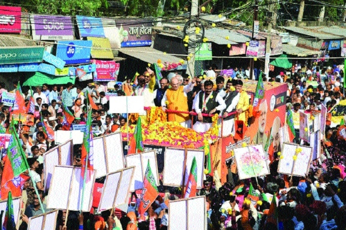 BJP chief Amit Shah's roadshow in Guna creates a buzz