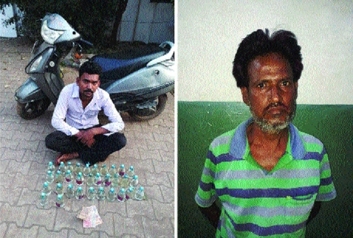 Two bootleggers arrested with 62 quarter of country made liquor