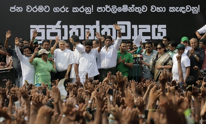 SL rocked by mass protest rally against Wickremesinghe's sacking