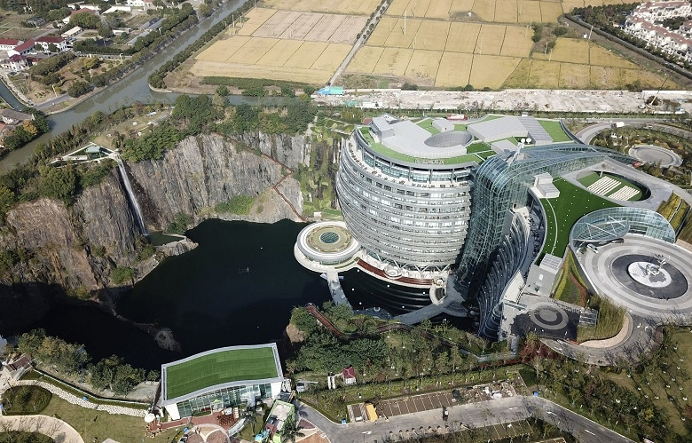 An aerial view shows 18 storey Intercontinental Shanghai Wonderland Hotel in Songjiang district of Shanghai east China