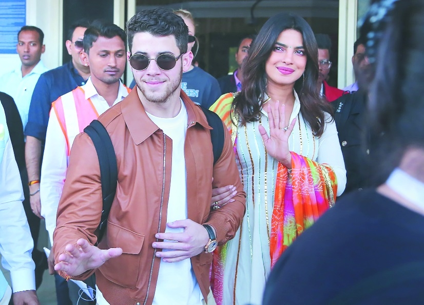 Actress Priyanka Chopra and US musician Nick Jonas arrive in Jodhpur in Rajasthan on ThursdayTheir grand wedding in planned in December at the Umaid Bhawan Palace in Rajasthan