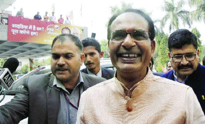 Confident Chouhan visits BJP office, boosts morale of party workers